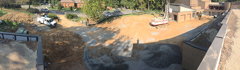Panoramic view of courtyard from roof of Community Hall