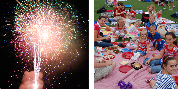 Fireworks photo and Family picnic photo